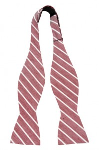 A bow tie with a calming mix of red and white on linen. Makes you very presentable.